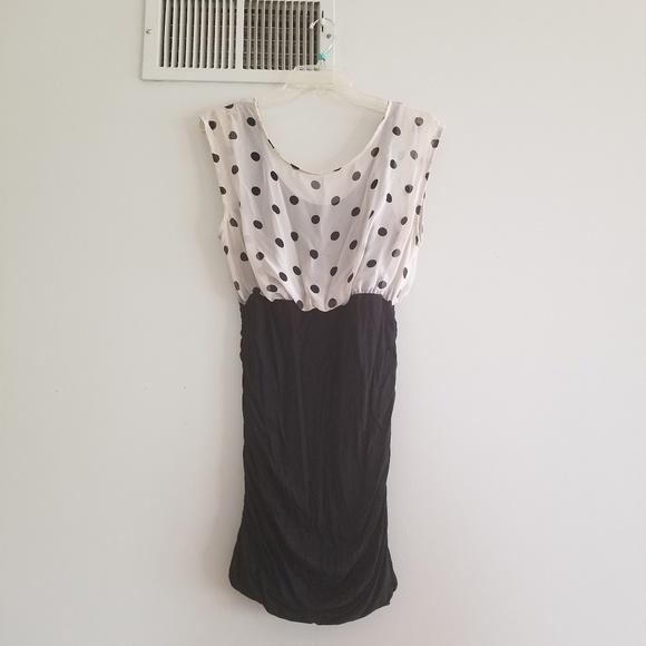 Lush Dresses & Skirts - Lush black bodycon with off white polka dot M